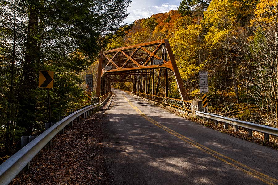 New Castle PA - View of Historical Bridge and Road in New Castle Pennsylvania During the Fall
