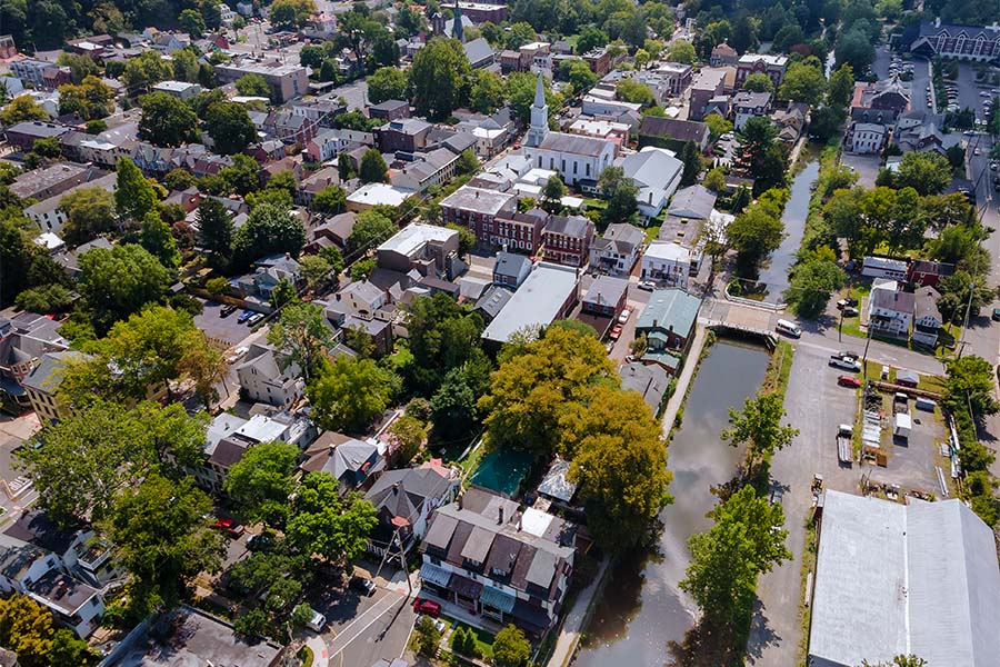 New Middletown Ohio - Aerial View of Downtown New Middletown Ohio with Views of Homes and Businesses