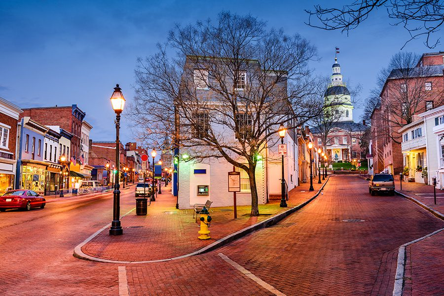 Blog - Annapolis, MD Center Street View at Night