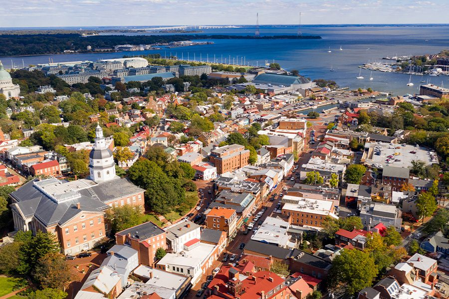 Contact - Aerial Panoramic View of Annapolis Maryland State House Capital City