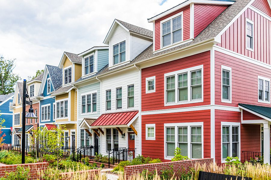 Gambrills, MD - Row of Colorful, Red, Yellow, Blue, White, Residential Townhouses in Maryland