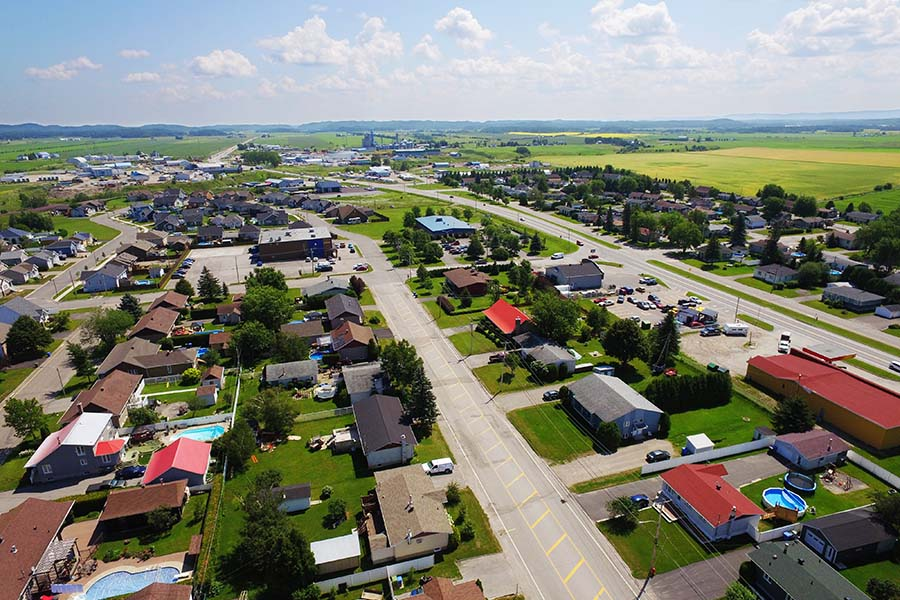 Girard OH - Aerial View of Small Rural Town Girard Ohio