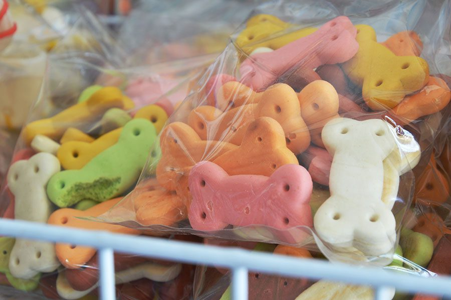 Manufacturer Insurance - View of Bags Filled with Colorful Dog Bone Treats at a Manufacturing Facility