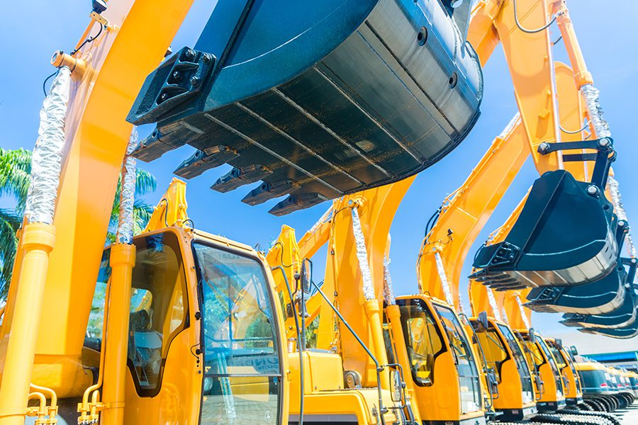 Equipment Rental Insurance - Closeup of Shovel Excavators From a Machinery Rental Company