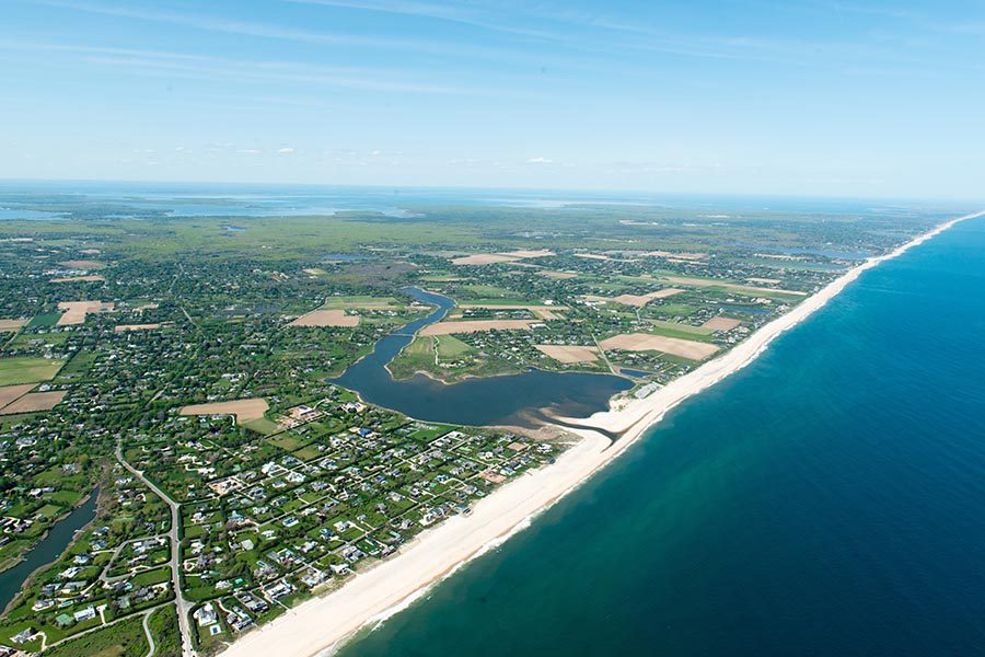Melville, NY Insurance - Aerial View of Long Island, New York, With Residential Neighborhoods and Beaches
