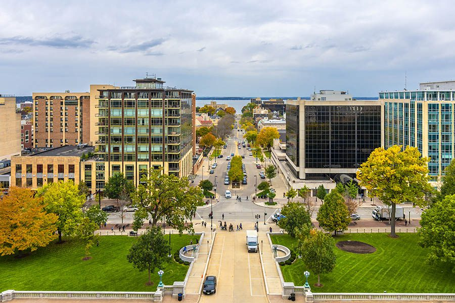 Sun Prairie, WI - View of City and Surrounding Area in Madison City Wisconsin of USA