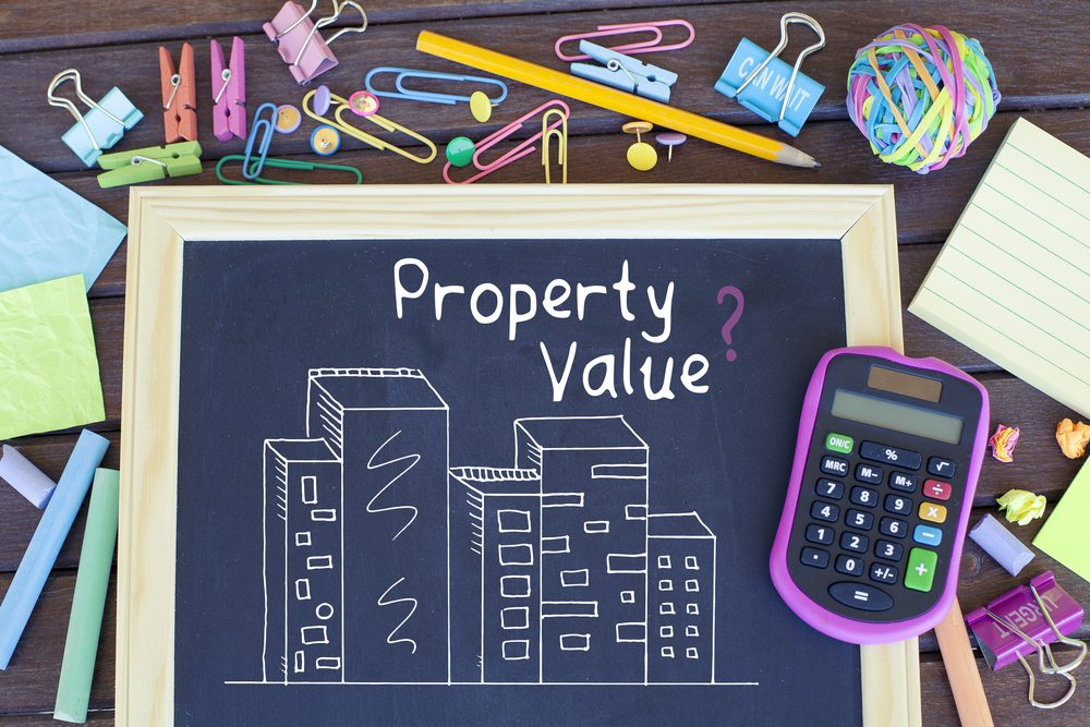 chalk board and calculator - property value