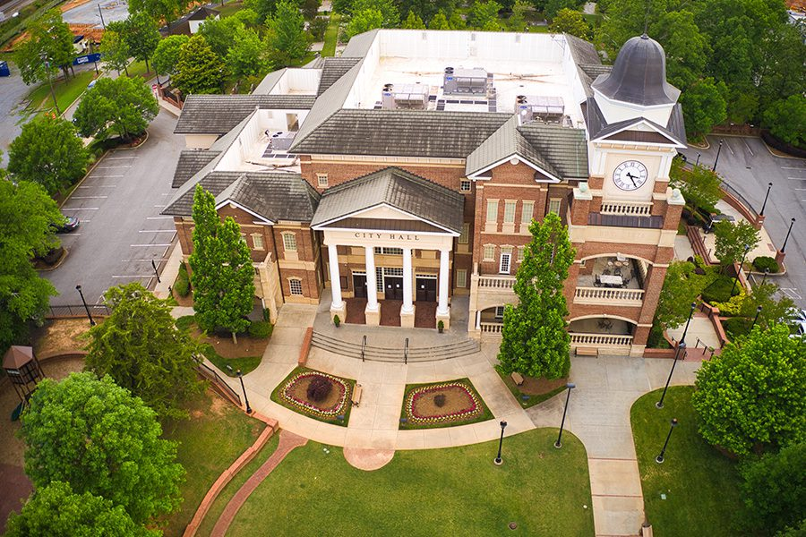 Contact - Aerial View of City Town Hall Building in Duluth, GA