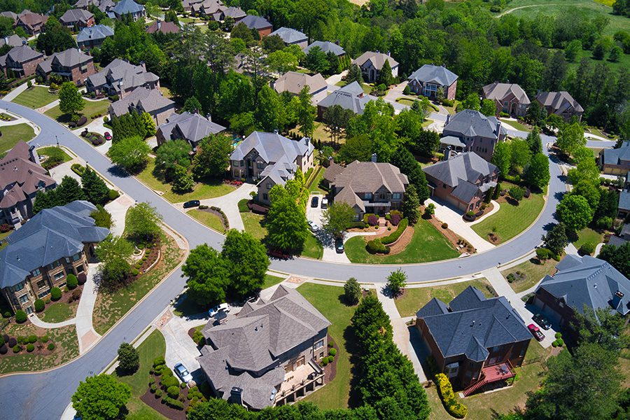 Duluth, GA - Aerial View of Suburb Near Atlanta in the Small Town of Duluth, Georgia on a Sunny Day