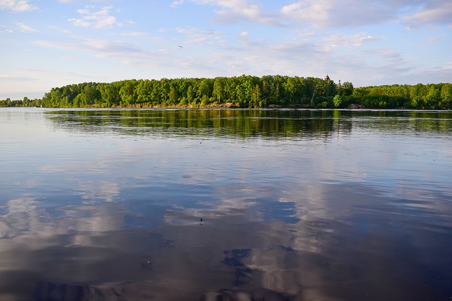 Contact - Beautiful Landscape View of a Calm Lake with Reflections of Clouds on the Water and Green Foliage in the Background
