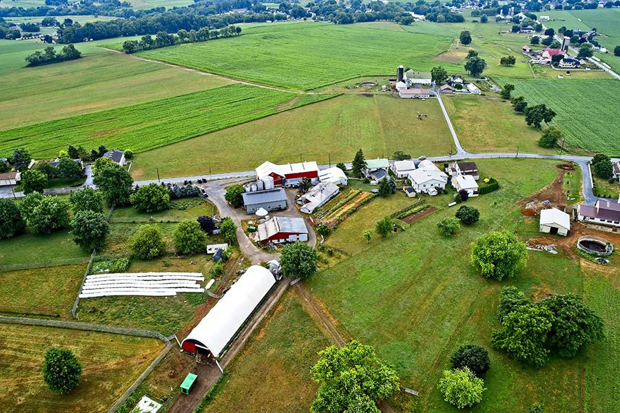 Westminster, MD Insurance - Aerial View of Farms, Homes, and Trees, a Green Landscape in Maryland