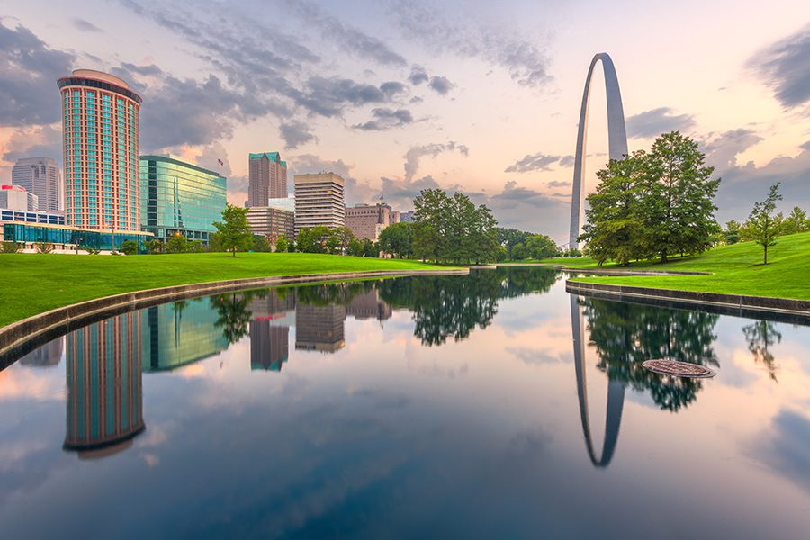 St. Louis, MO - Landscape View of St. Louis Gateway Arch and Lake in Missouri