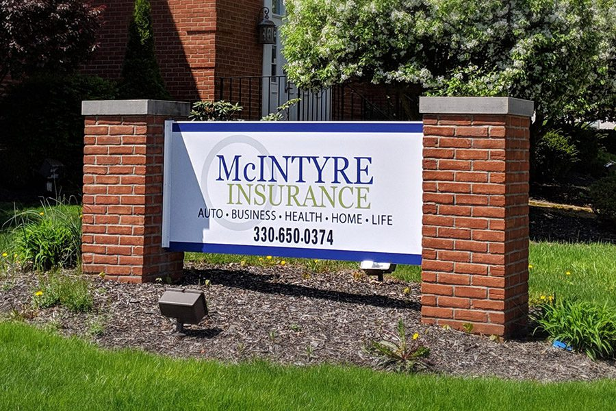About - McIntyre Insurance Office Sign Closeup