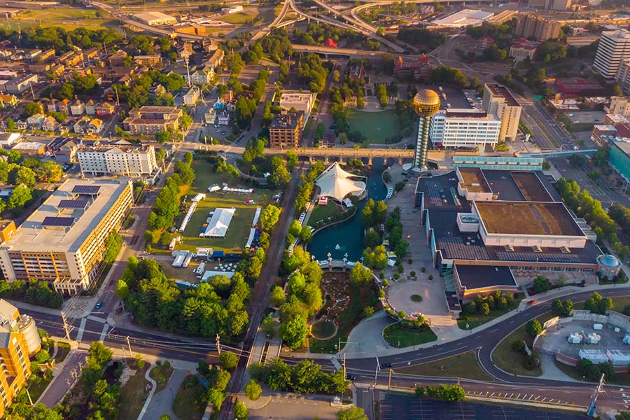About Our Agency - Aerial View of Downtown Knoxville Tennessee in the Early Morning