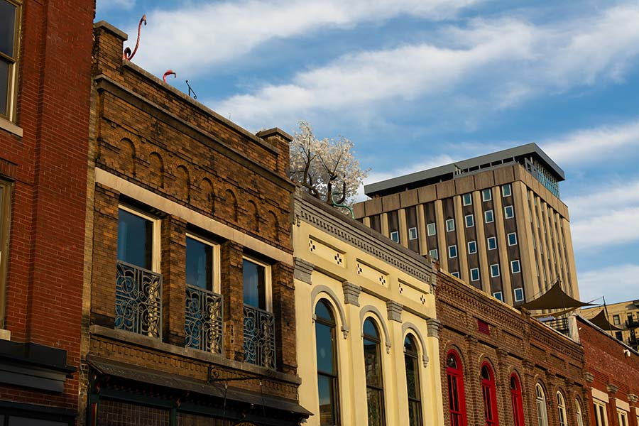 Client Center - Row of Colorful Residential Buildings in Downtown Knoxville Tennessee