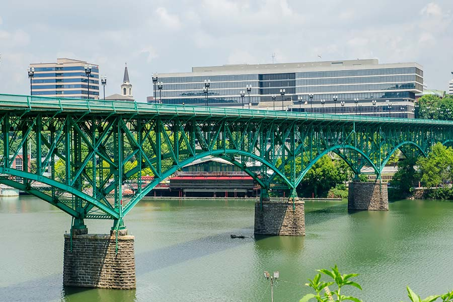 Contact - View of Green Bridge Over the River in Downtown Knoxville Tennessee