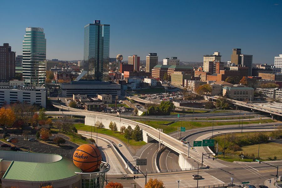 Knoxville TN - View of Inner Knoxville Tennessee Highways and Skyscrapers on Sunny Day
