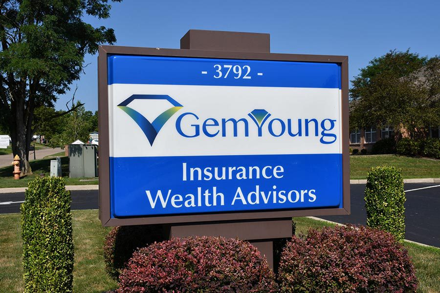 Contact - Closeup View of Gem-Young Insurance & Wealth Advisors Office Sign