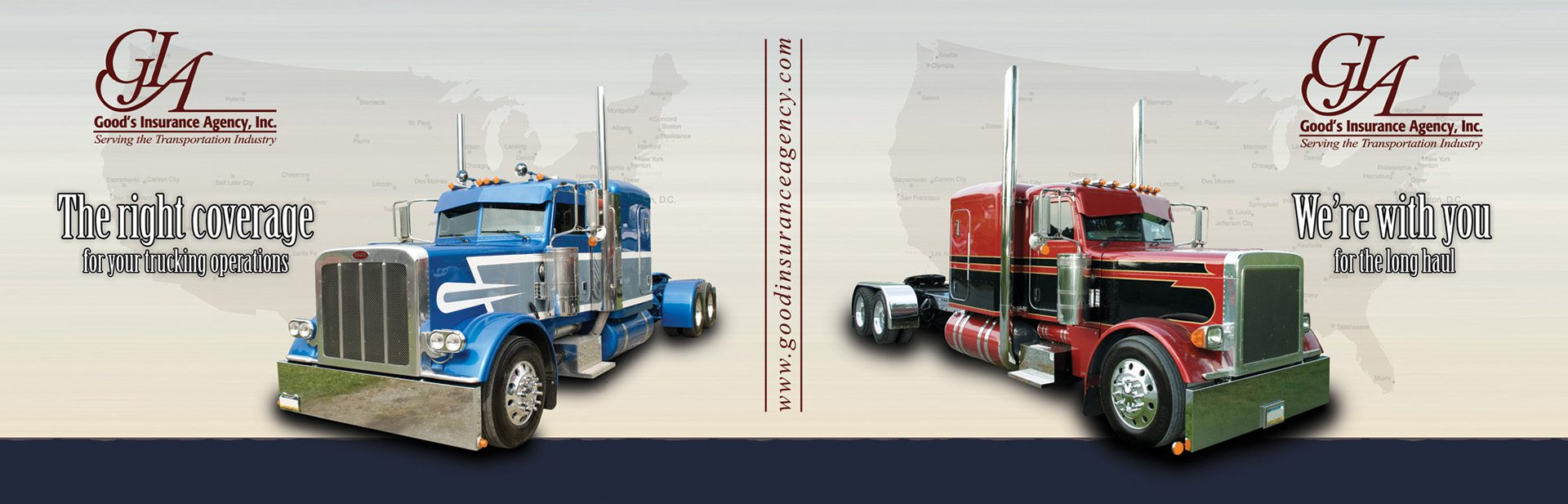 Homepage - Goods Insurance Agency Inc Truck Banner with Logo and States Map