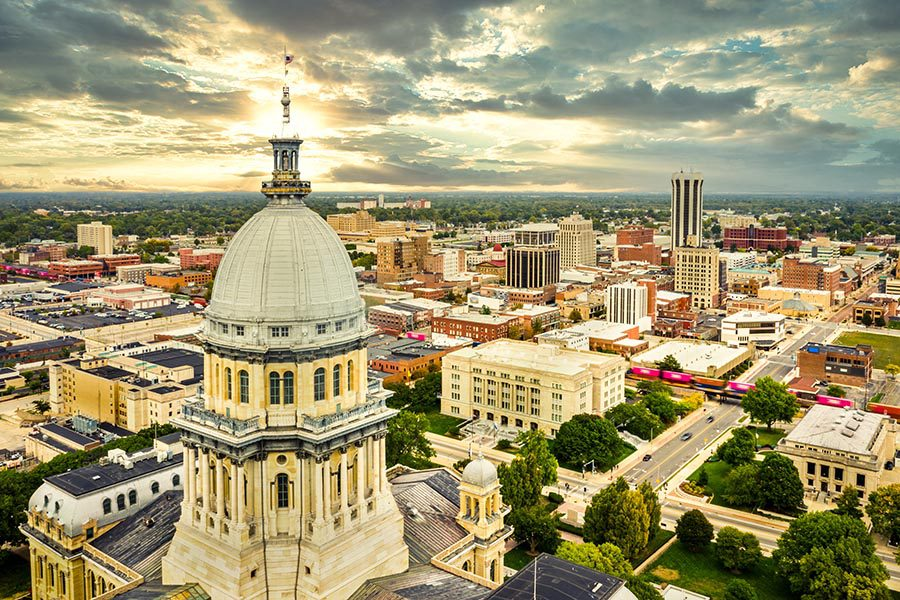 Blog - Springfield Illinois Aerial Landscape, With the State Capitol Building in the Foreground