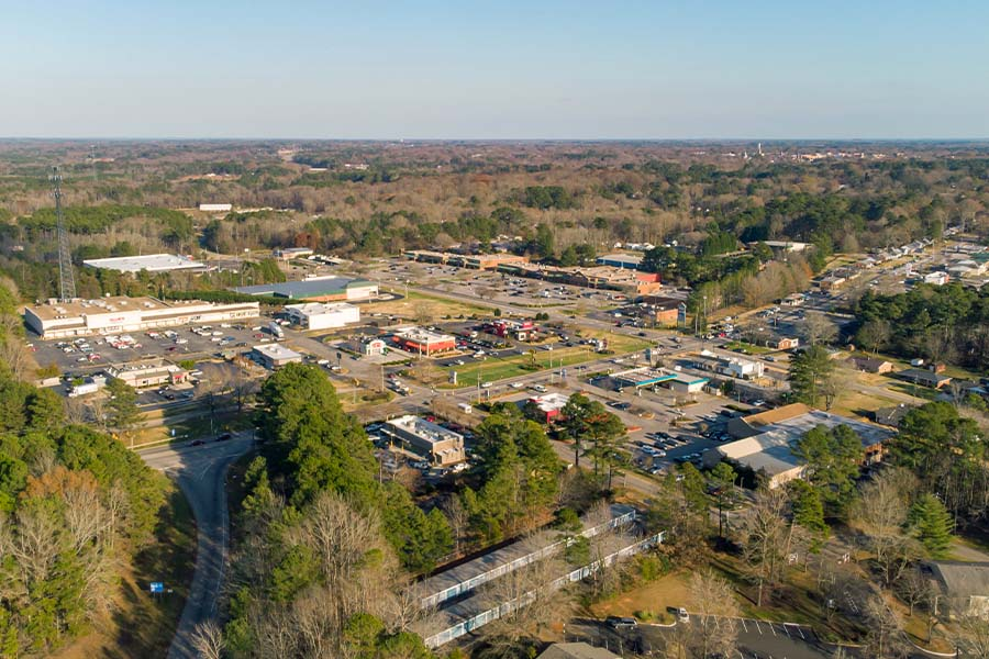 Henderson, NC - Aerial View of Henderson, North Carolina on a Sunny Day