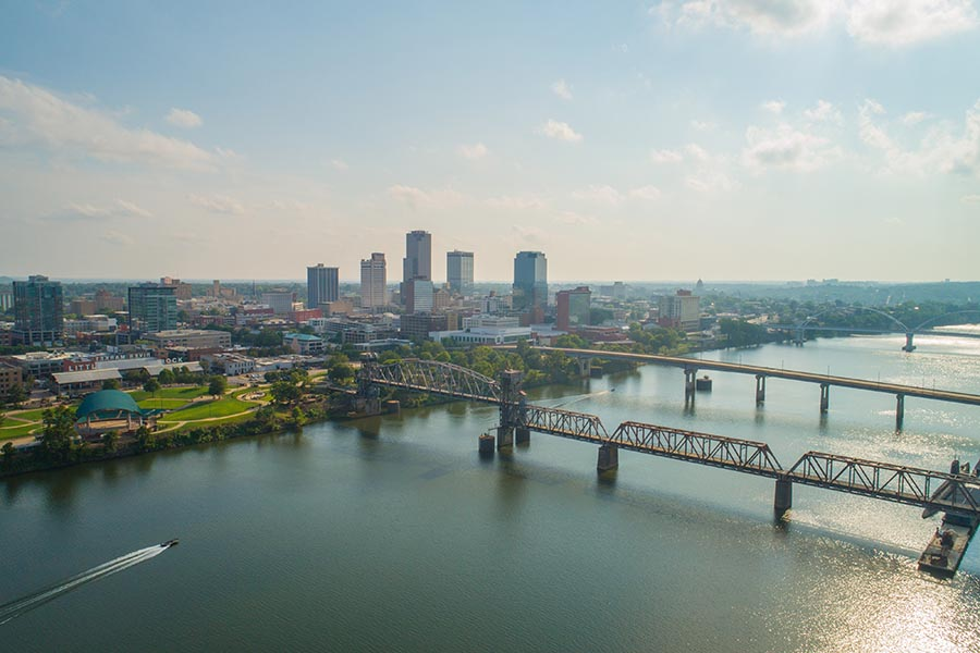 About Our Agency - Aerial Distant View Of Little Rock, Arkansas on a Misty Day