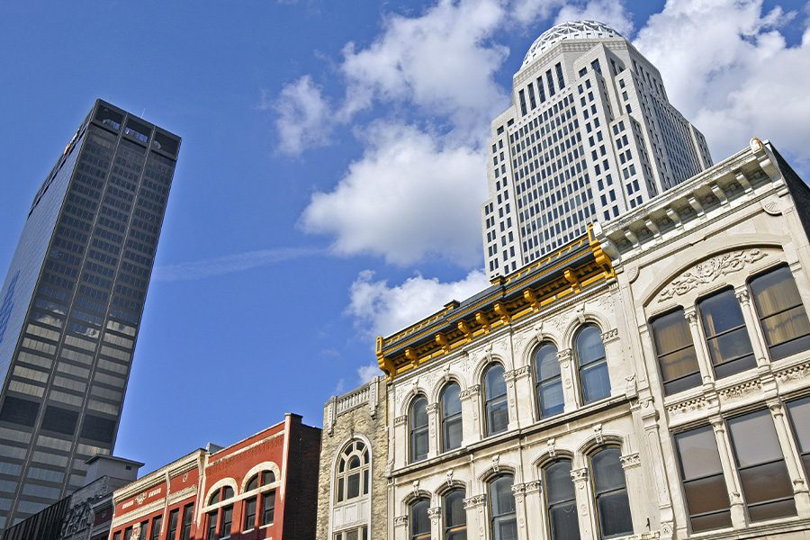 Louisville, KY - Louisville, Kentucky Office Buildings Looking Up on a Sunny Day