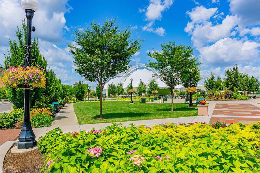 Centerville OH - Scenic View of a Park with Bright Green Grass and Foliage on a Sunny Summer Day in Centerville Ohio