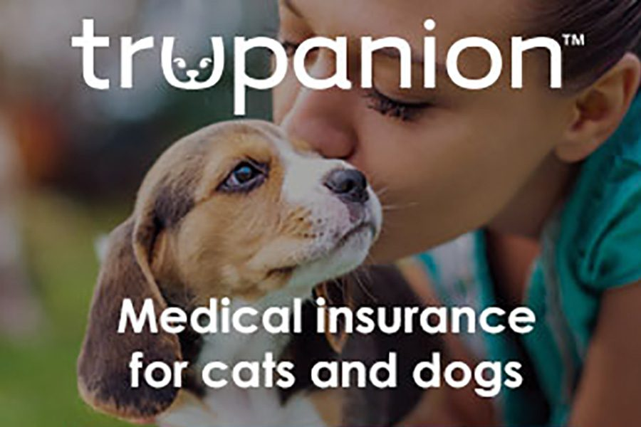 Pet Insurance - Portrait of a Woman Kissing Her Dog with Trupanion Logo