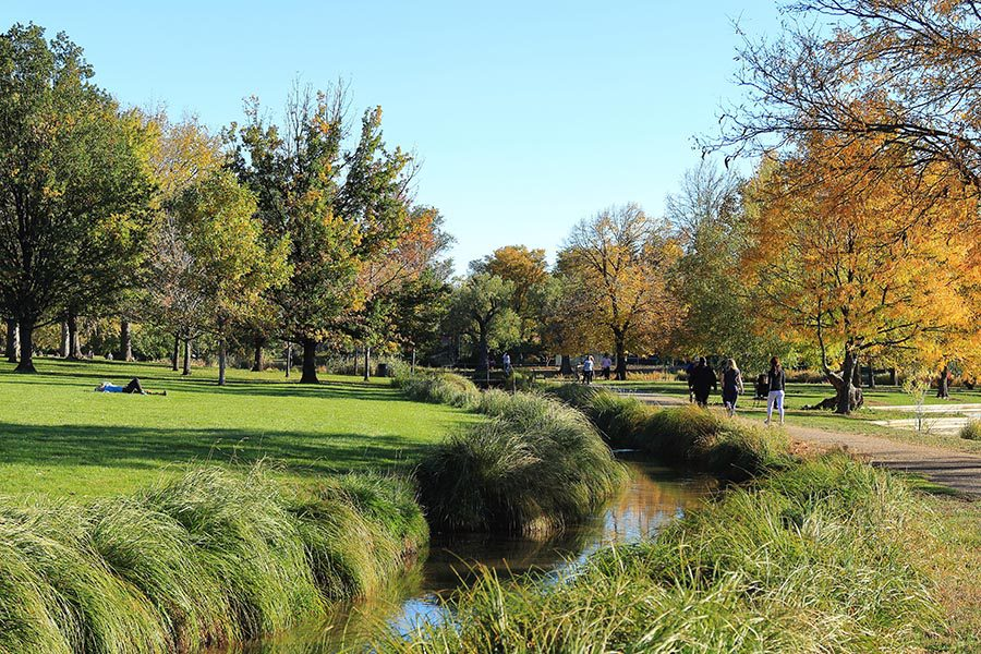 Louisville, OH Insurance - Beautiful Park With a Small Stream, Trees Along the Edges of Walking Paths, Blue Sky Overhead
