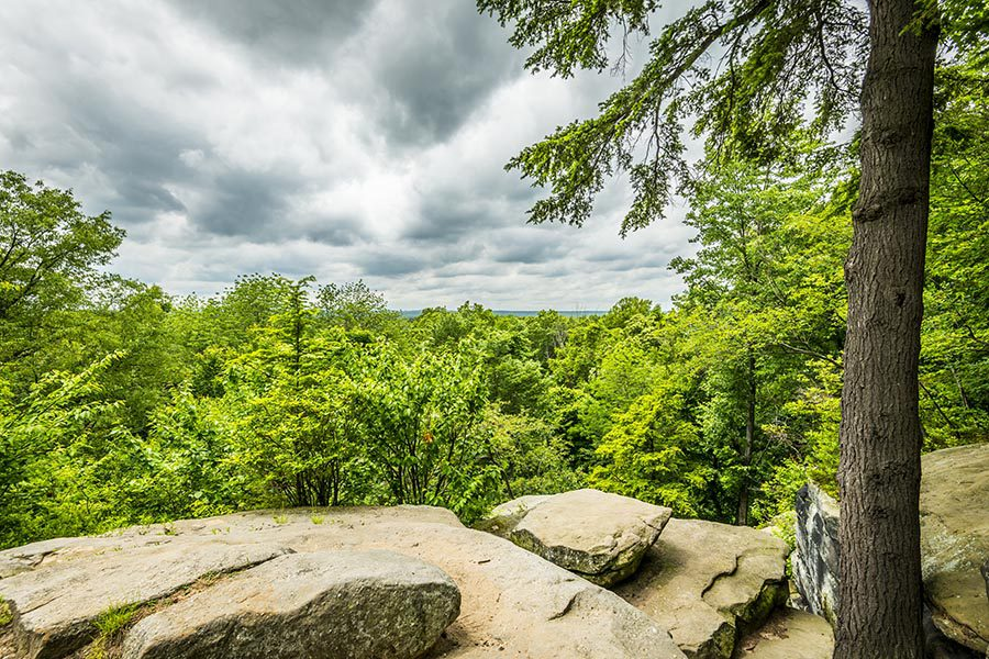 Contact Us - Beautiful Rocky Overlook In Ohio, Green Trees and a Wide View of the Landscape