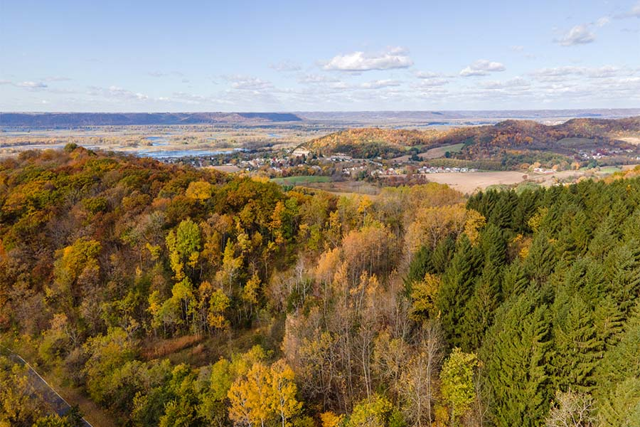 Kronenwetter WI - Scenic View of Mountains with Colorful Fall Foliage in Kronenwetter Wisconsin