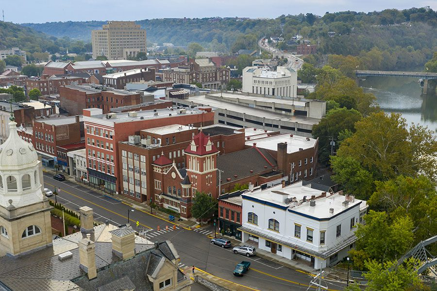 Contact - Aerial View of the State Capital City Downtown Frankfort, Kentucky