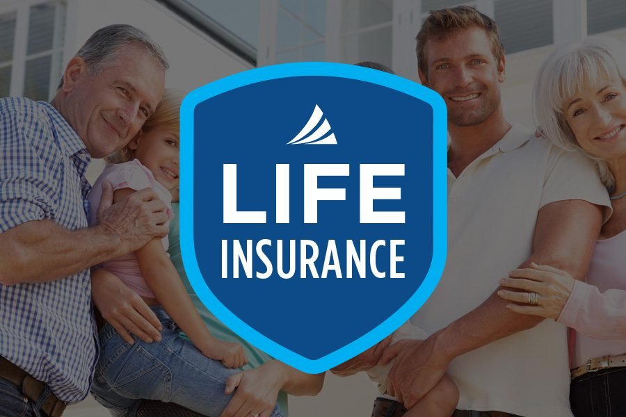 Life Insurance - Armada Risk Partners Shield Logo for Life Insurance with Portrait of a Happy Family in the Background