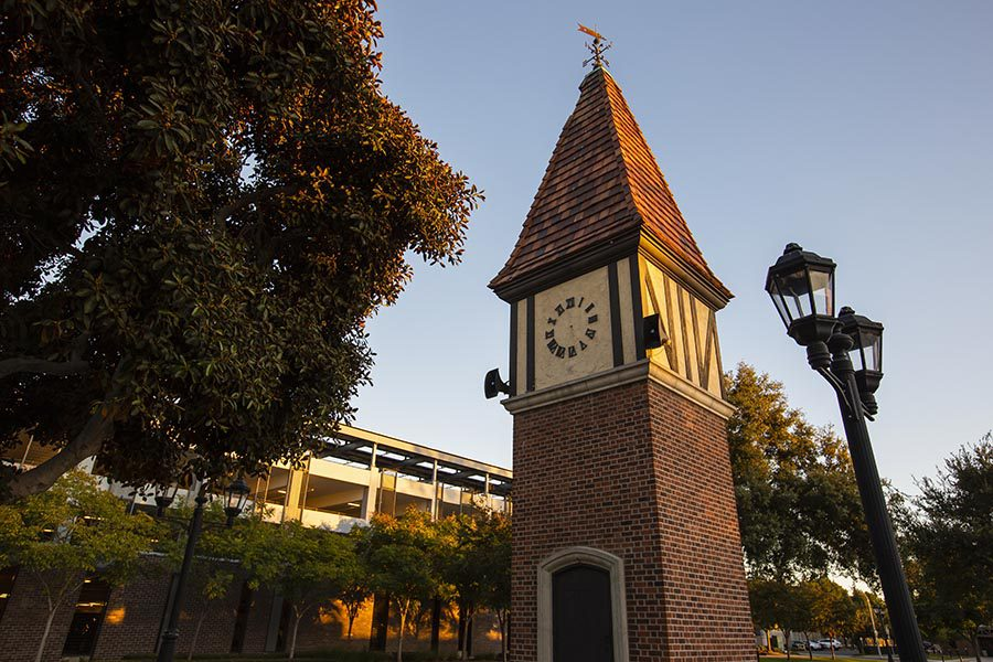 Westminster, CA Insurance - Sunset View of the Pointed Public Clock Tower in Westminster, California