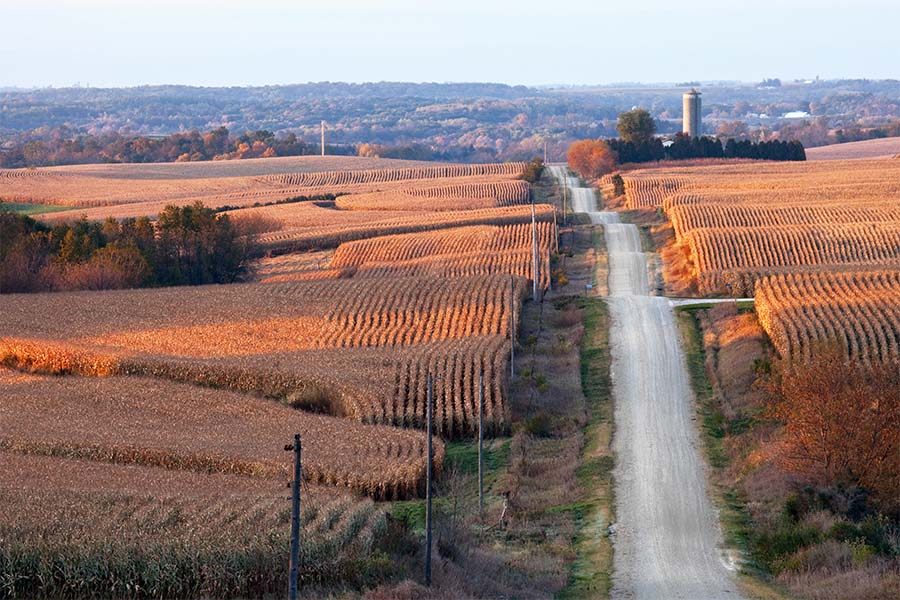 Blog - View of Farm Fields and an Empty Road in the Iowa Countryside During a Fall Sunset
