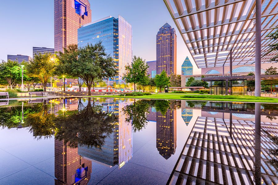 Dallas, TX - Closeup View of Water and Tall Buildings in Dallas, Texas