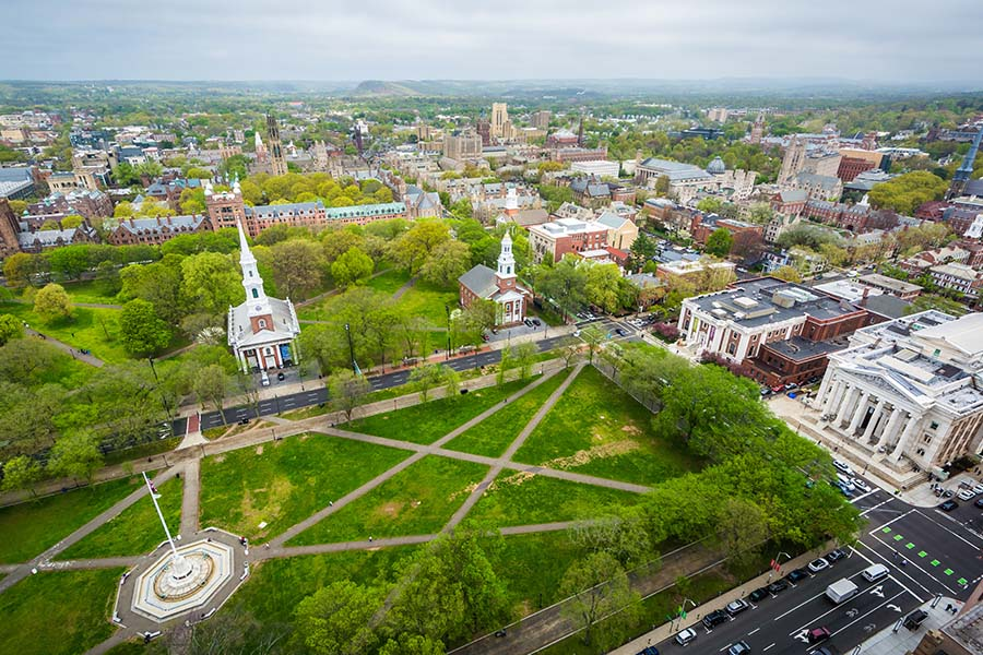 Contact - Aerial View of the New Haven Green and downtown, in New Haven, Connecticut