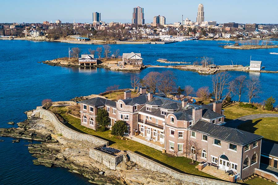New Rochelle, NY - Aerial View of Mamaroneck, New Rochelle, and Larchmont With Large Bodies of Water