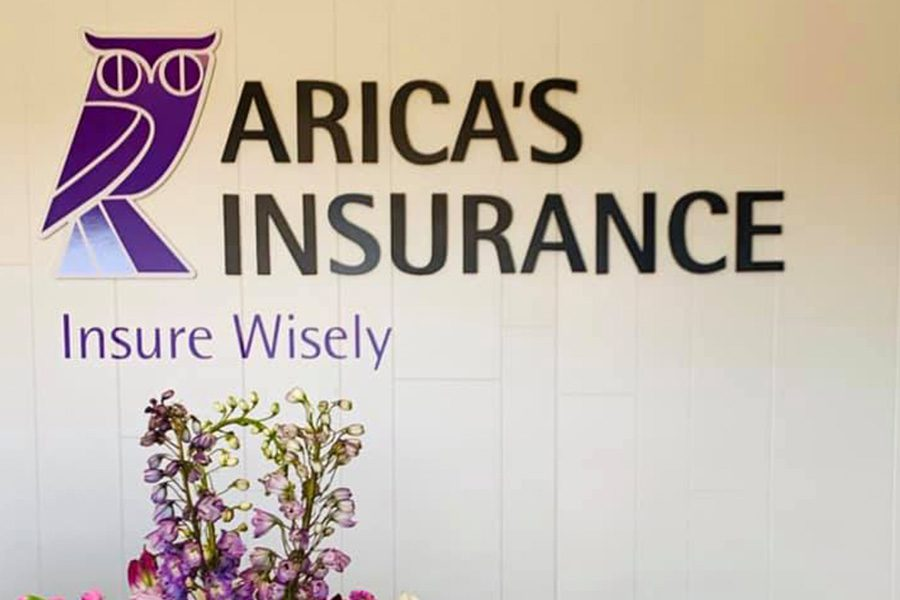 Hudson, NY - Display of Arica's Insurance Office With the Owl Logo and Flowers in View
