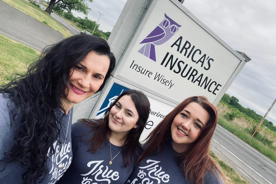 Personal Insurance - Arica, Emily and Hannah Standing Together Outside in Front of Office Sign