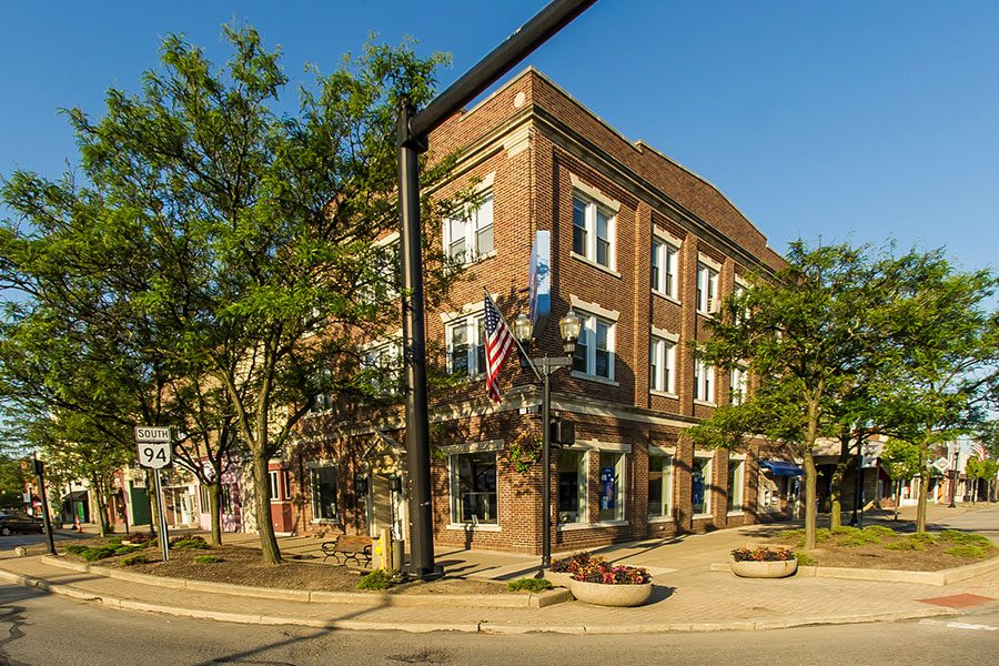 Wadsworth, OH - View of Office Location on a Street Corner Downtown in Wadsworth, Ohio at Sunset