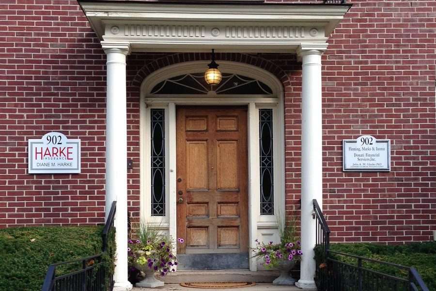 Downers Grove, IL - Front View of Brick Office and Columns of Harke Insurance Agency