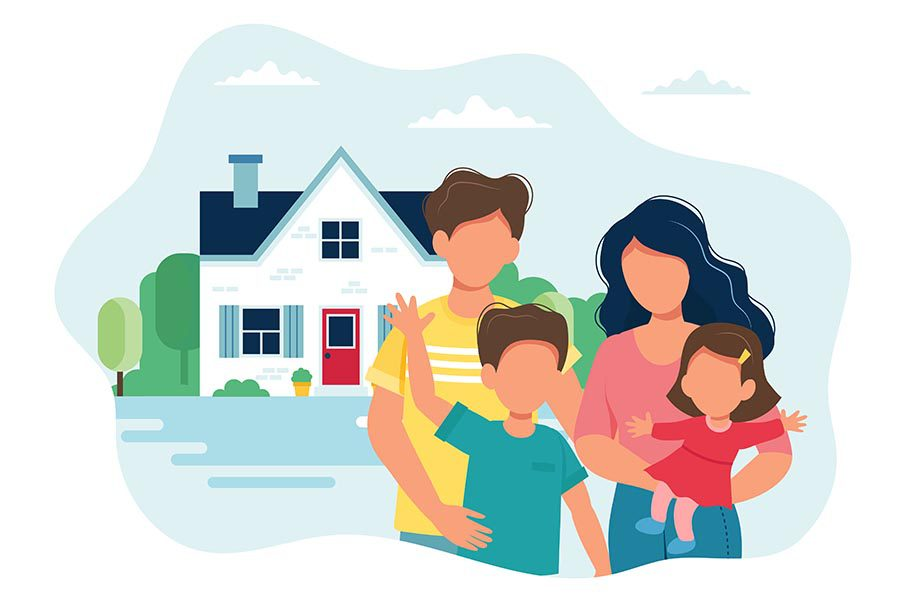 Personal Insurance - Illustration of a Family in Front of Their Home