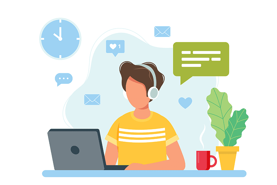 Review Our Agency - Illustration of a Man Sitting at a Desk Wearing Headphones and Using a Laptop to Leave Reviews