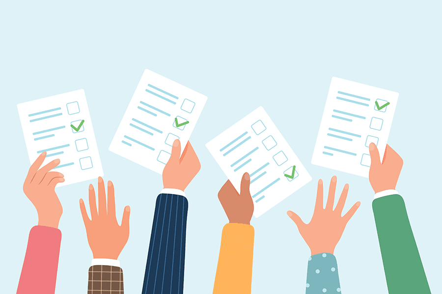 We Are Independent - Illustration of Hands Reaching Out With Paperwork Full Of Lines and Checkboxes