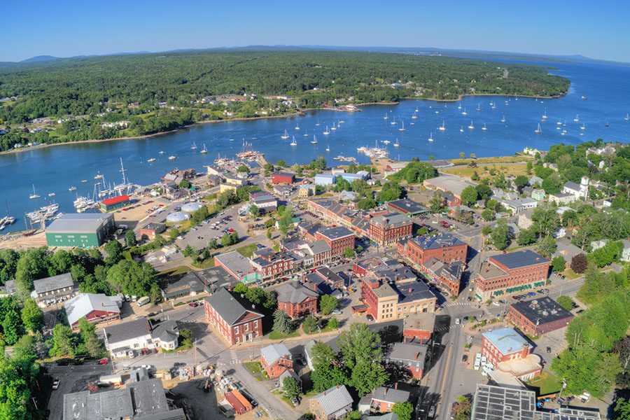 Contact - View of Belfast, a Small Town in Rural Maine During the Summer Displaying Many Small Boats in the River
