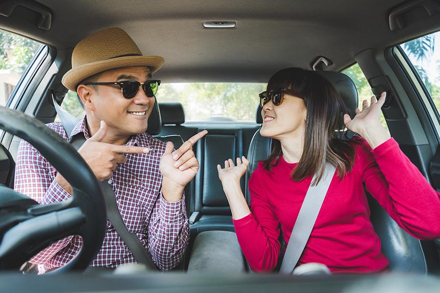 Contact - Young Couple Dance in Their Car, Wearing Sunglasses, Ready For a Road Trip