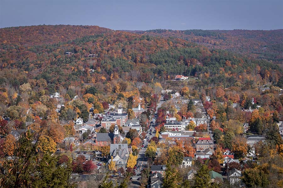 Washington PA - Aerial View of the Town of Washington Pennsylvania Surrounded by Colorful Fall Foliage on a Sunny Day