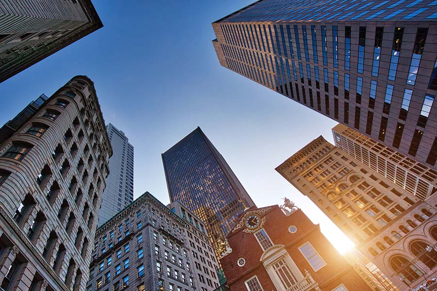 Business Insurance - Bottom Up View of Commercial Buildings in Massachusetts